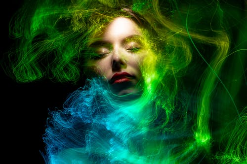 Woman With Green and Blue Hair