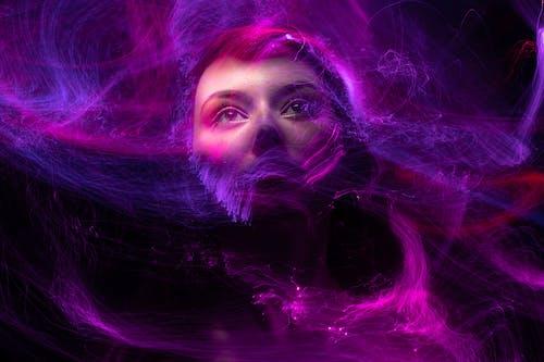 Woman With Purple Hair and Purple Smoke