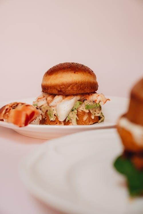 Lobster Burger on White Ceramic Plate