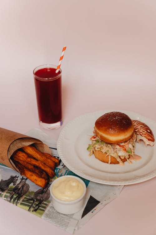 Lobster Burger and Sweet Potato Fries Meal