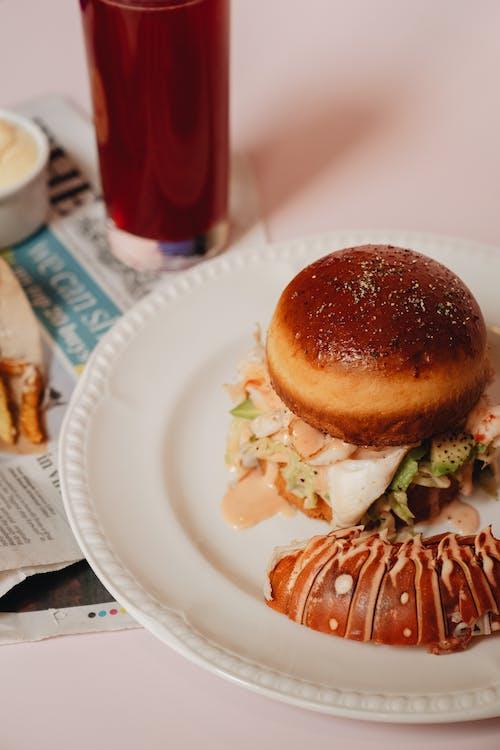 Lobster Burger on White Plate
