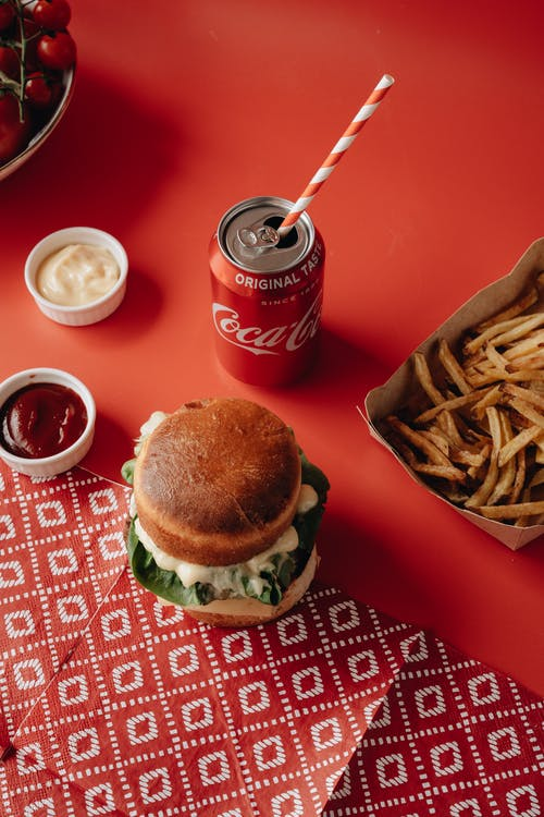 Burger and Fries on Red and White Checkered Table Cloth