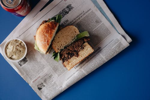 Burger on Top of Newspaper