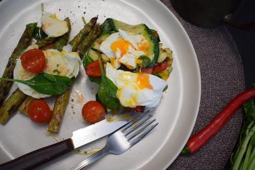 Egg and Vegetables on Ceramic Plate