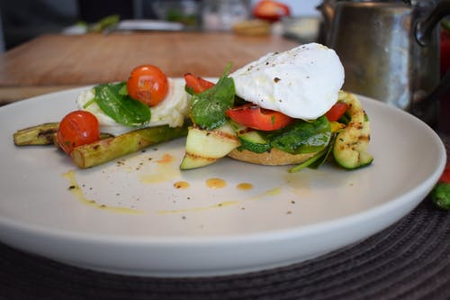 Egg and Vegetables on Toast with Asparagus on the Side