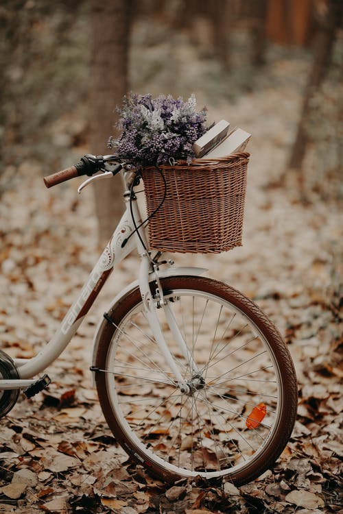 White Bike With Basket on It