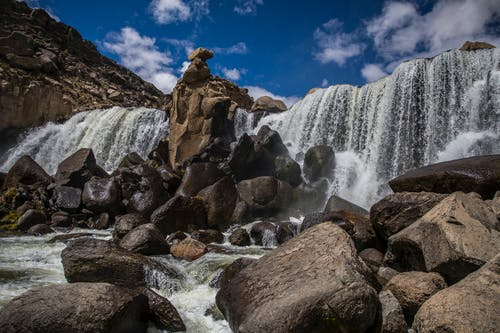 Cascading Water on Rocky River from Waterfalls