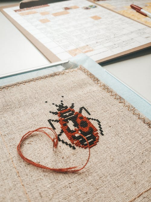 Cross stitch red bug on textile with red thread placed on white table with paper on cardboard in light room