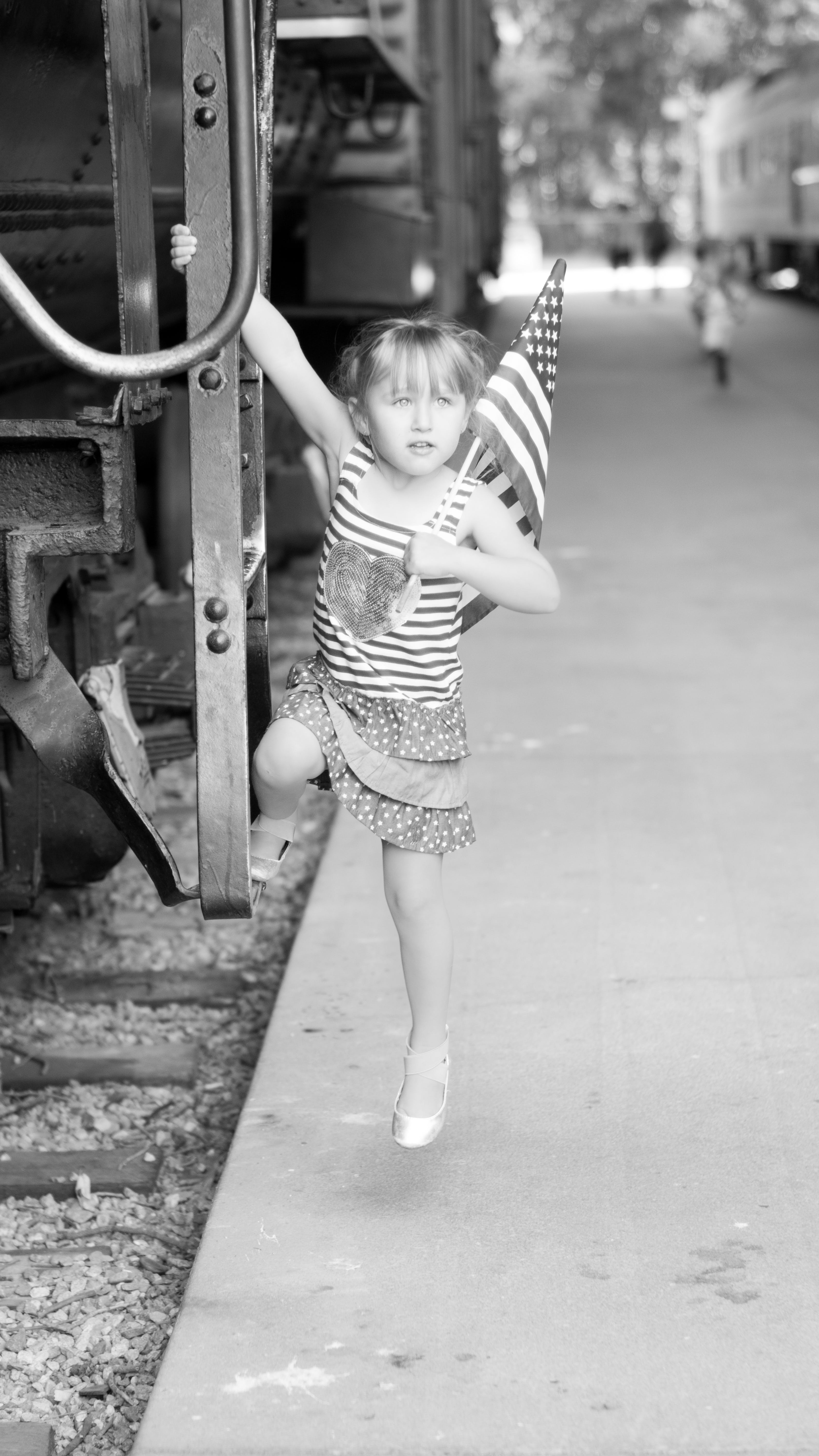 Free stock photo of black and white, flag, girl, patriotic
