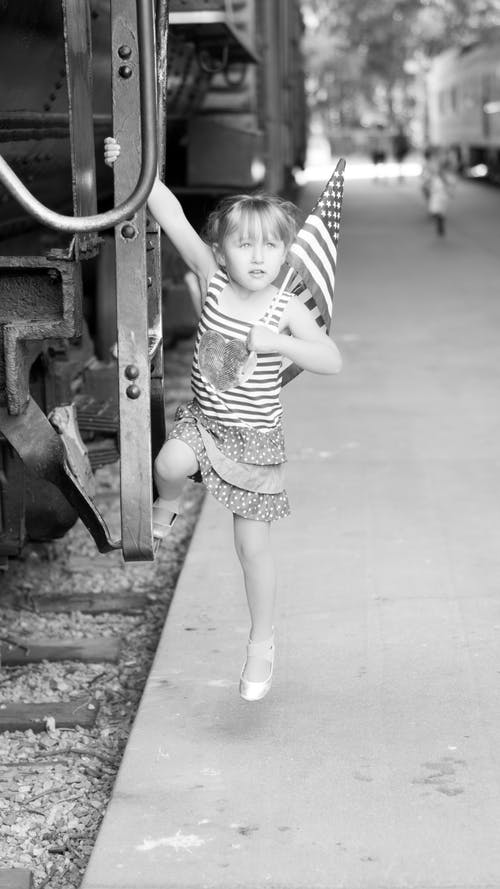 Free stock photo of black and white, girl, patriotic