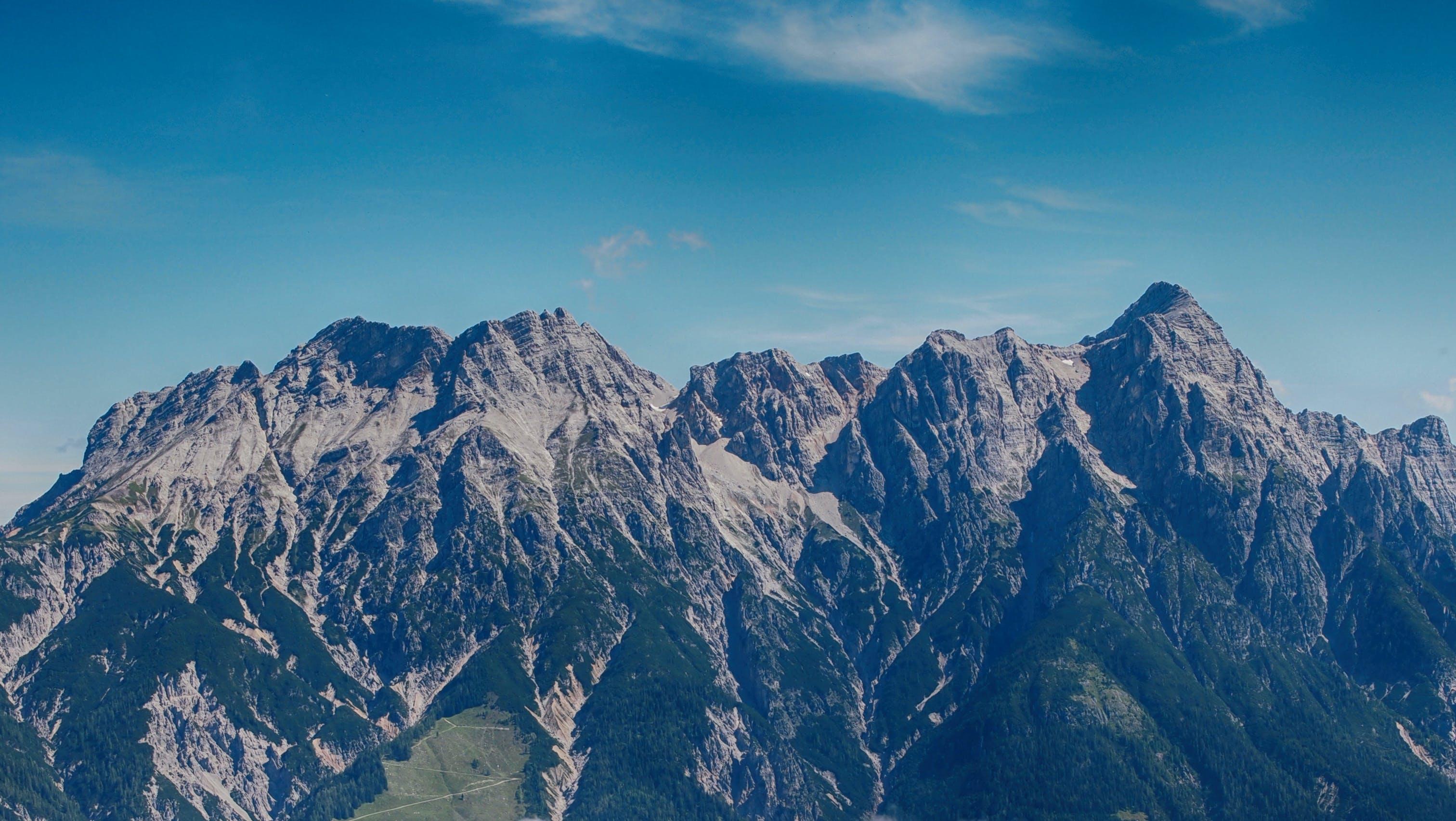 berge, blauer himmel, draußen