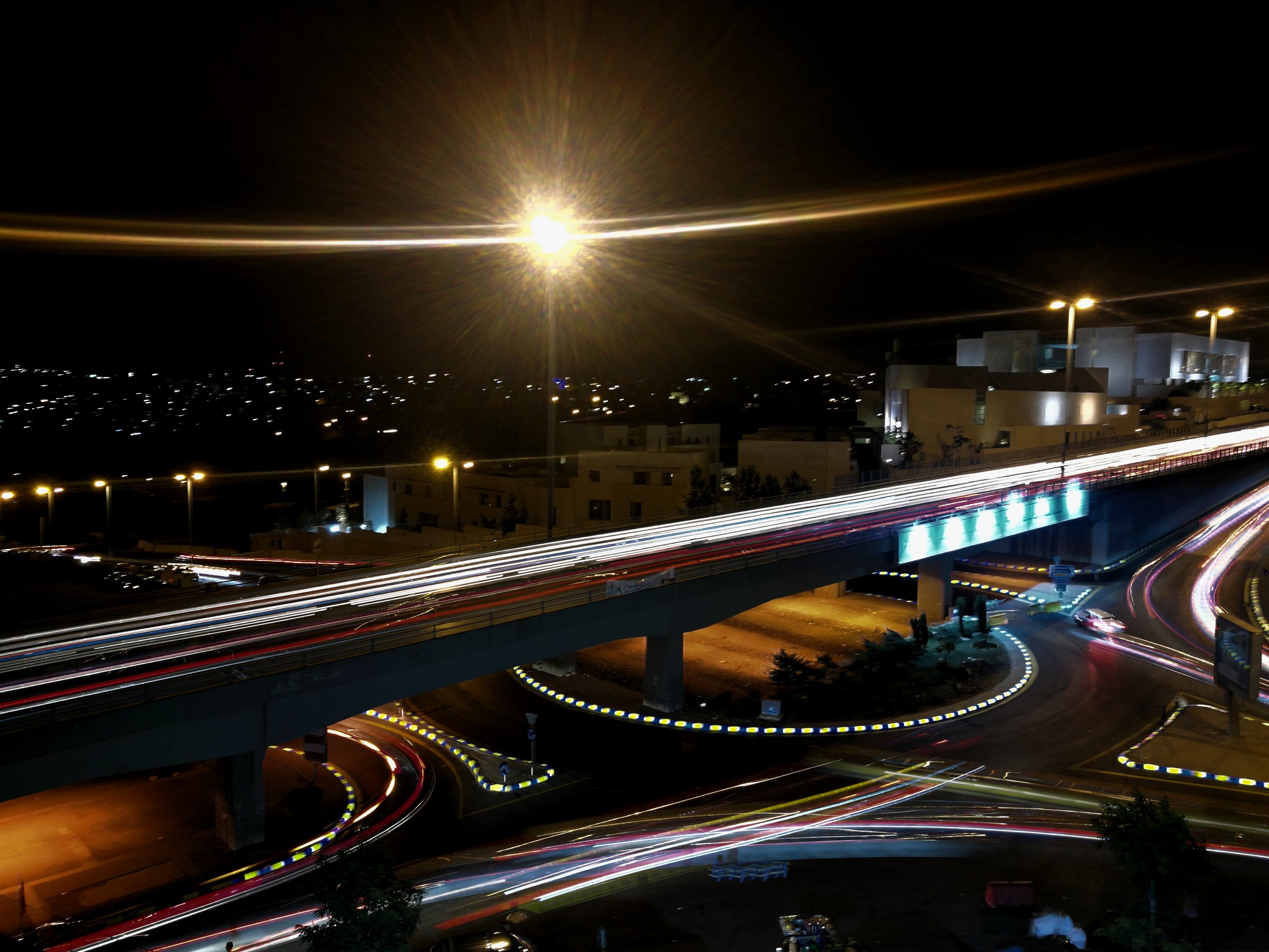 Free stock photo of Light track, night shot