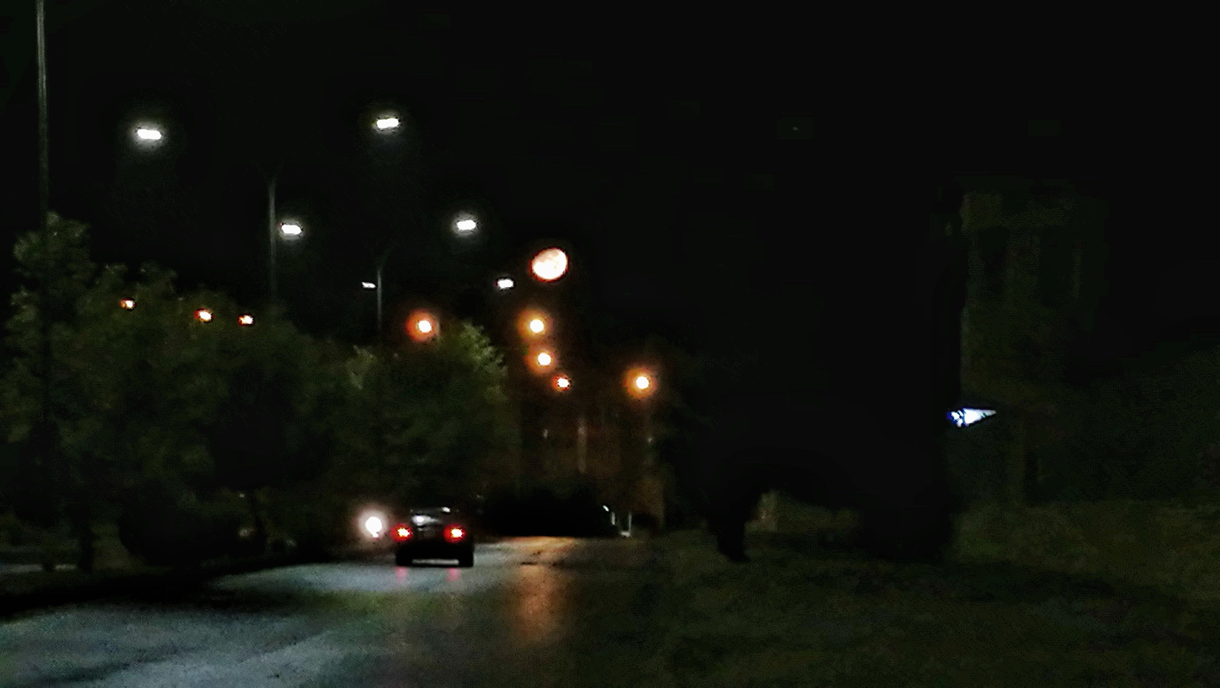 Free stock photo of car, moon, nightshot, street lights