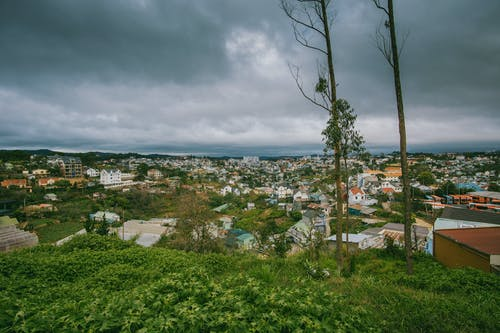 Scenic View of City Under Cloudy Sky