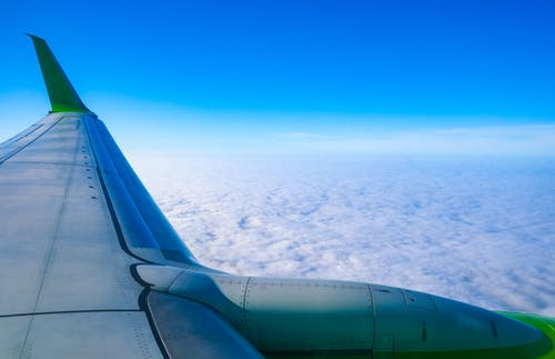 Scenery of Sea of Clouds from an Airplane