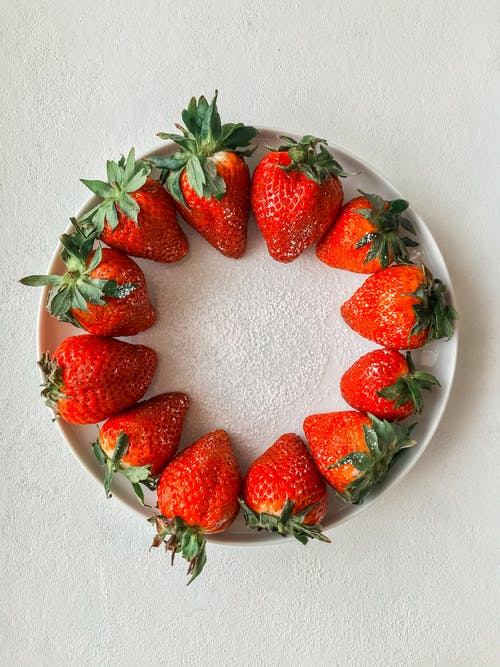 Strawberries on White Ceramic Bowl