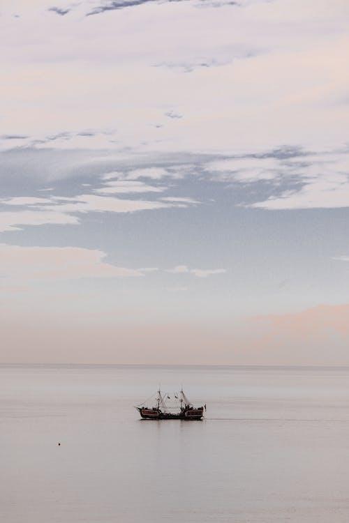 A Pirate Ship Sailing on Sea