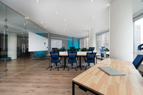 Spacious conference room with glass doors