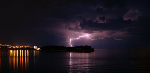 Free stock photo of by the sea, epic, lightning, lightning strike