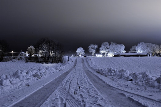 Free stock photo of snow, light, road, landscape