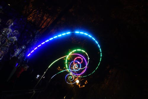 Free stock photo of light, night, spiral