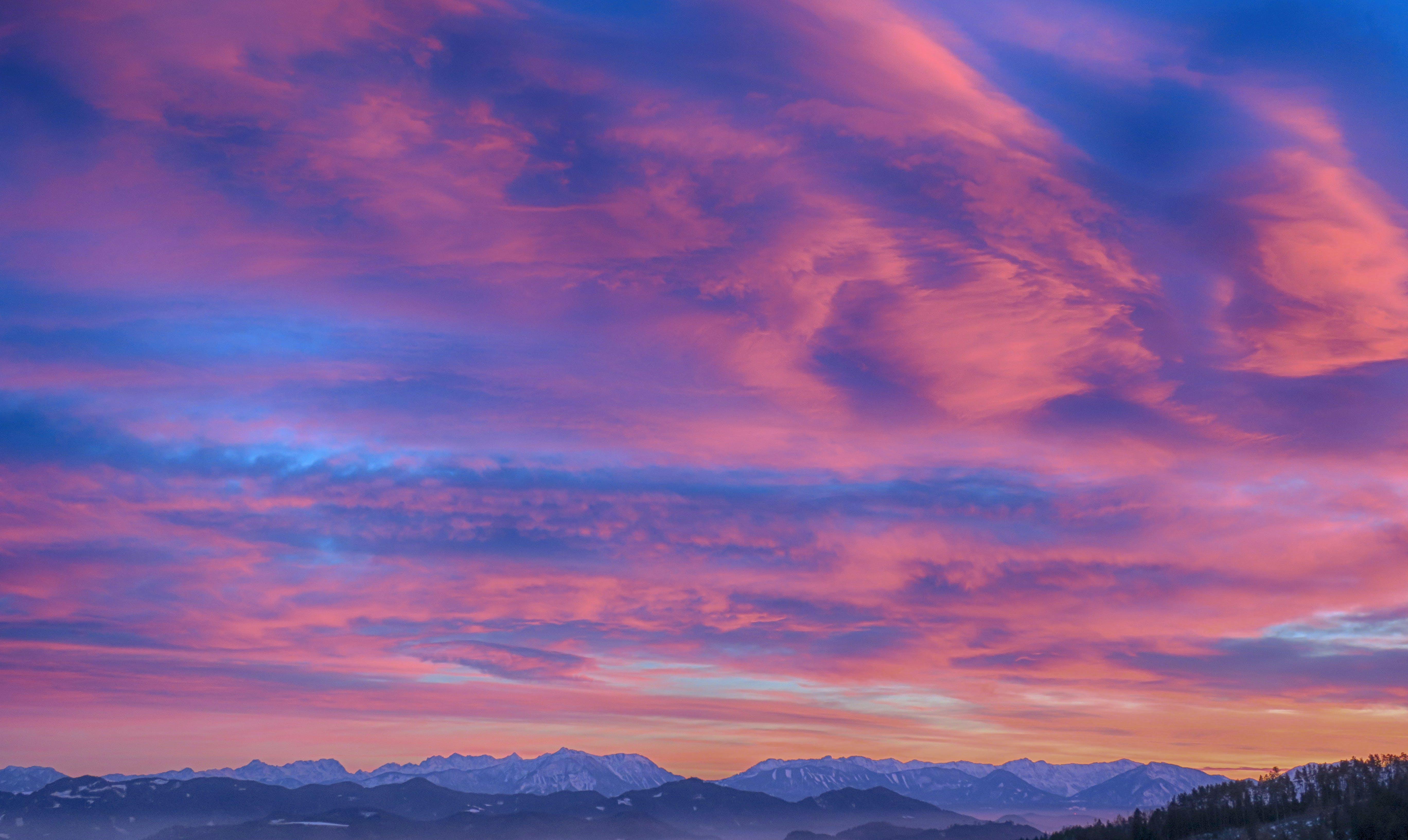 Snow Cap Mountain Under Nimbus Clouds