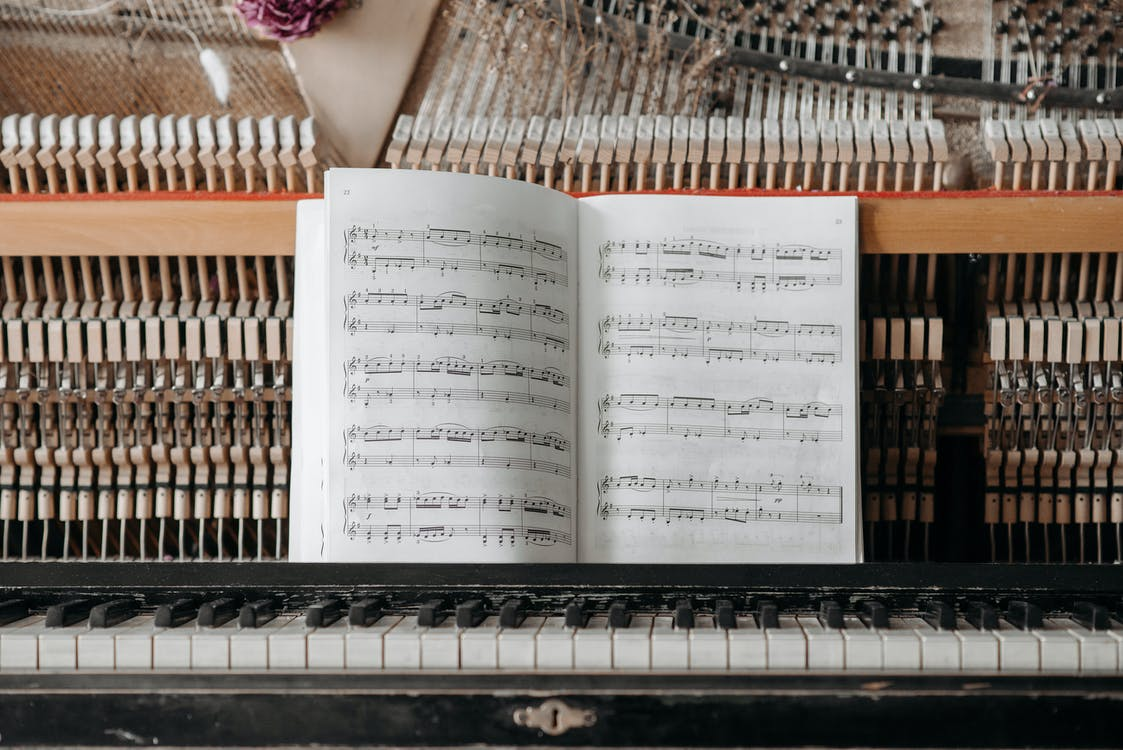 White Musical Notes on Piano