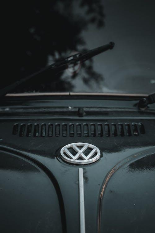 Fragment of black retro car