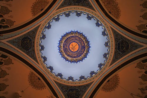 Intricate decoration of ceiling dome of Mosque