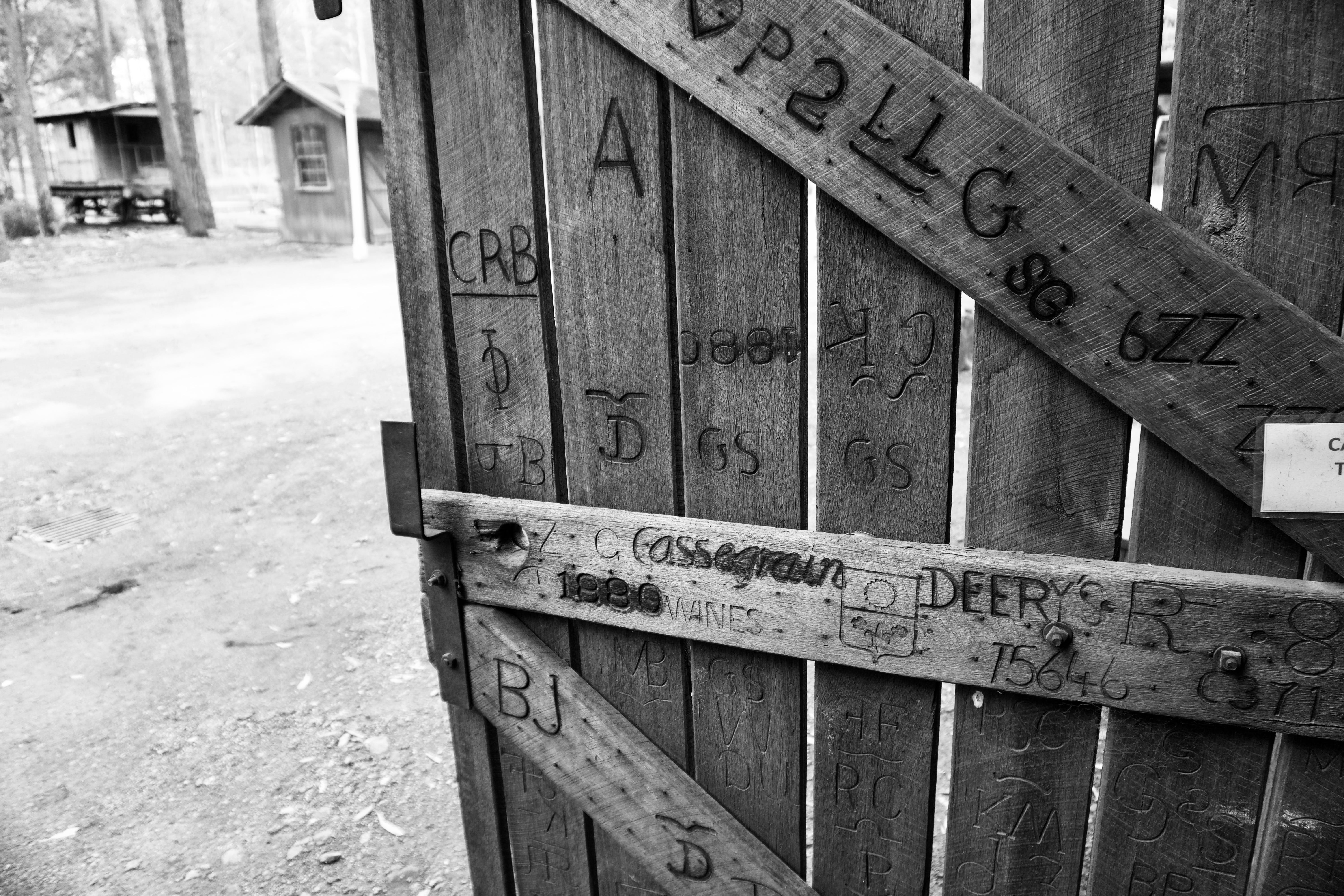 Gray Scale Photo of Brown Wooden Gate