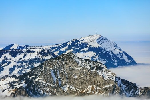 Areal Photo of Black Snowy Mountain