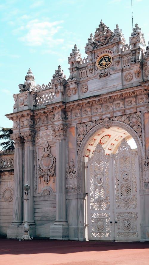 Old stone gates at entrance of historic palace