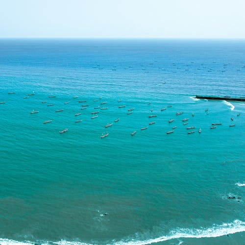 Aerial Shot of Ships on the Sea