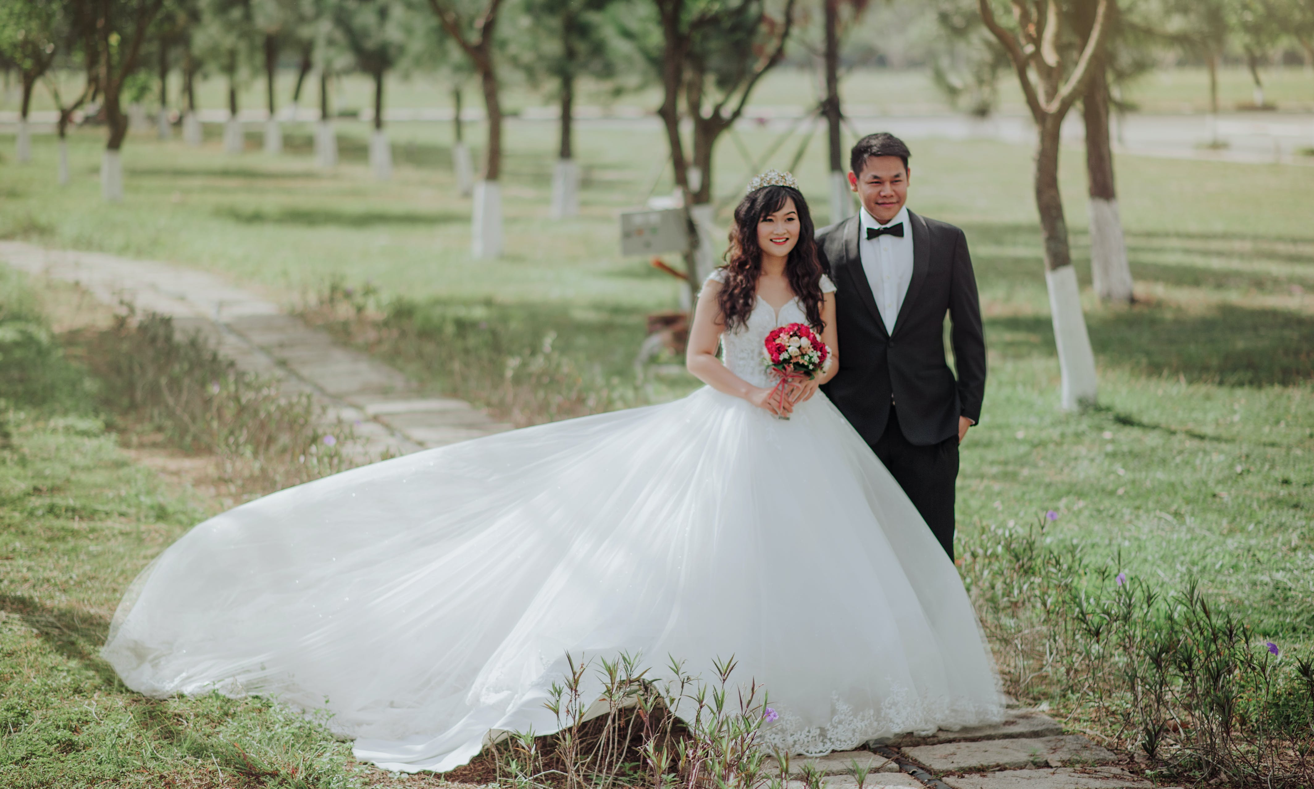 Bride and Groom Photo on Park