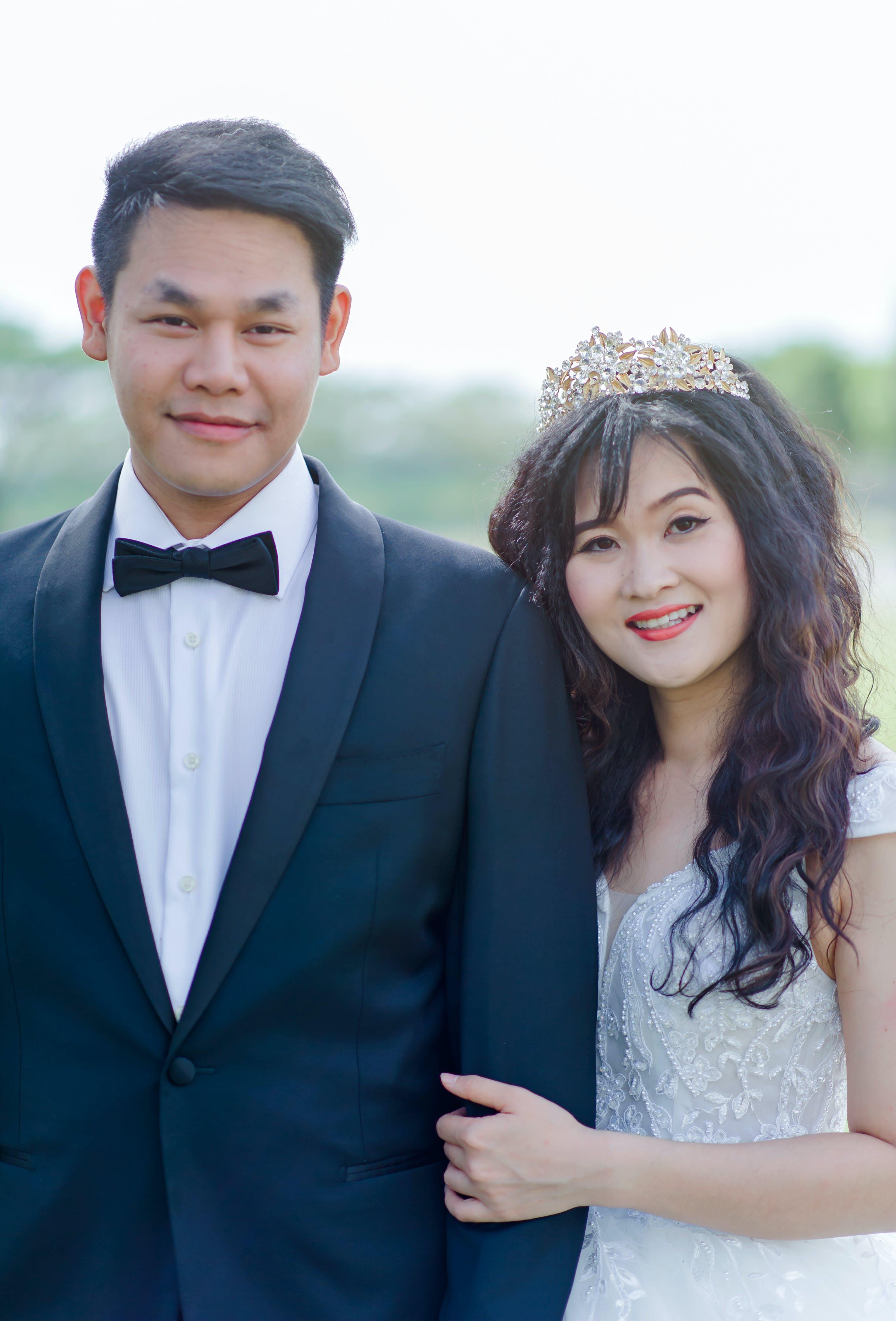 Women's White Floral Wedding Dress and Men's Black 1-button Blazer