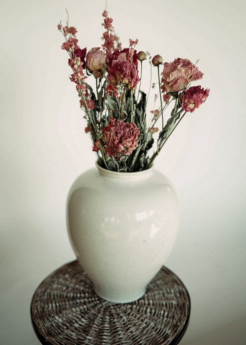 Bunch of dry flowers with thin petals in vase on wicker surface against white wall