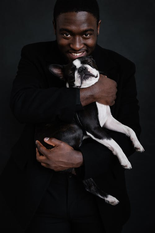 Good looking black male in black apparel on black background holding adorable Boston Terrier with eyes closed with both hands while smiling and positively looking at camera