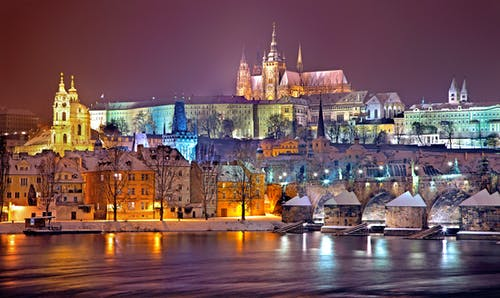 Prague Castle District Lit Up at Night