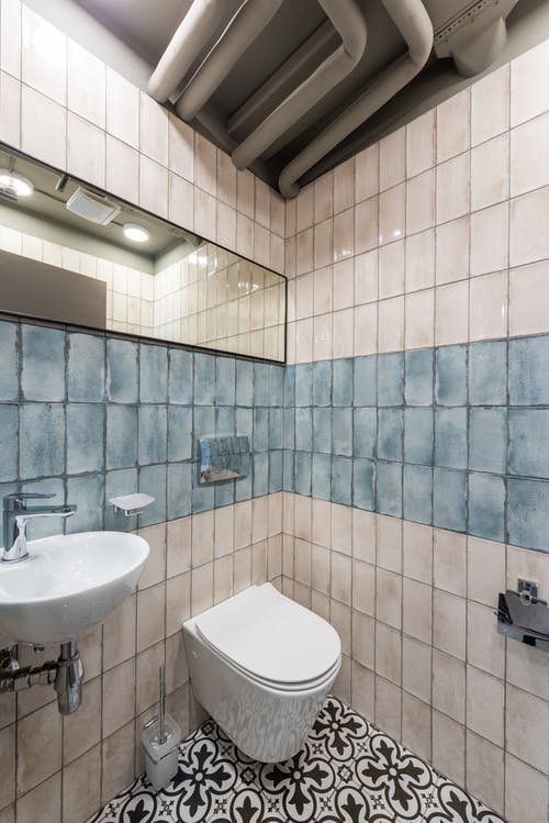 Interior of bathroom with creative design