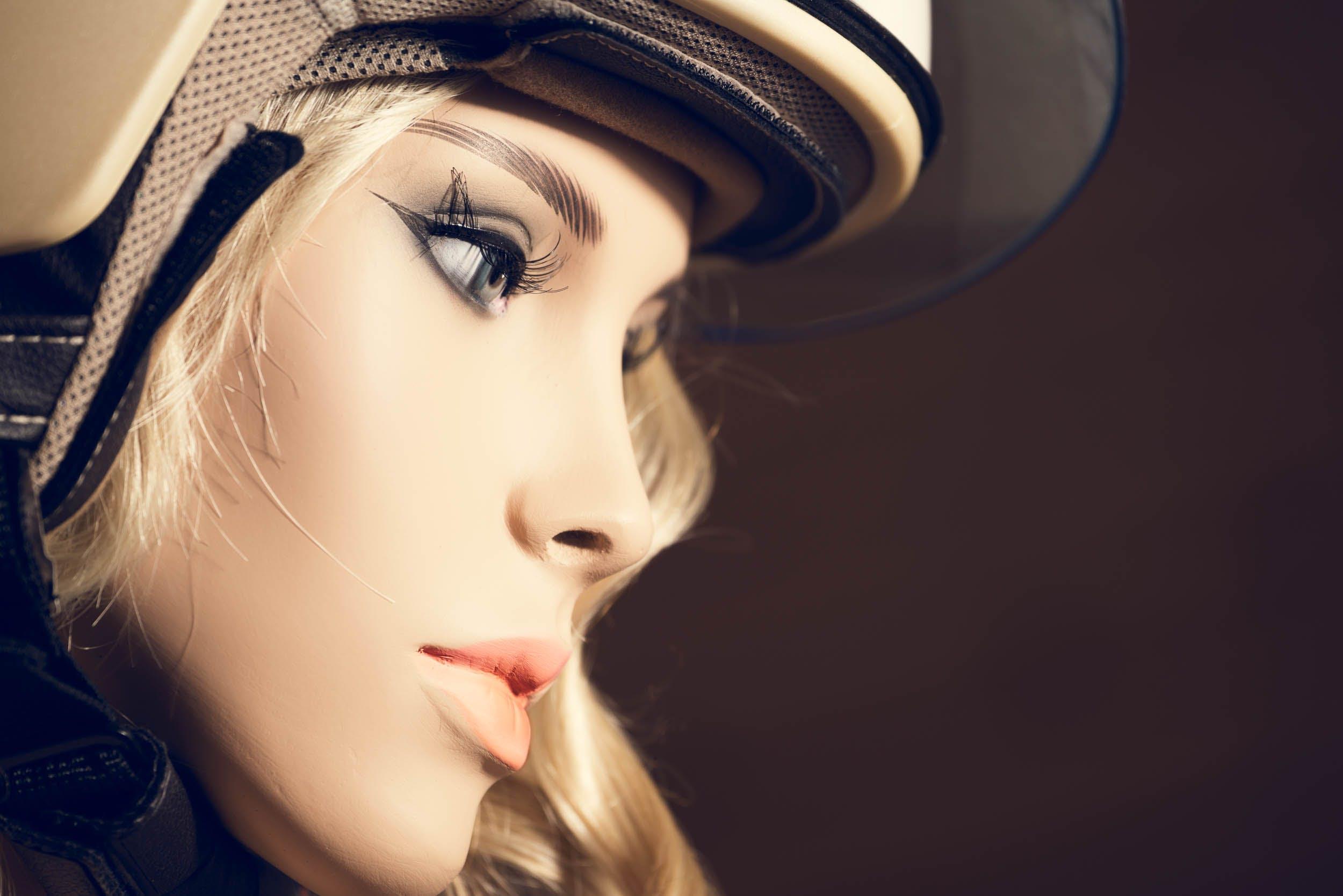 Blonde Haired Woman Wearing White Helmet