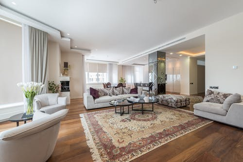 Light living room in luxury apartment in daytime