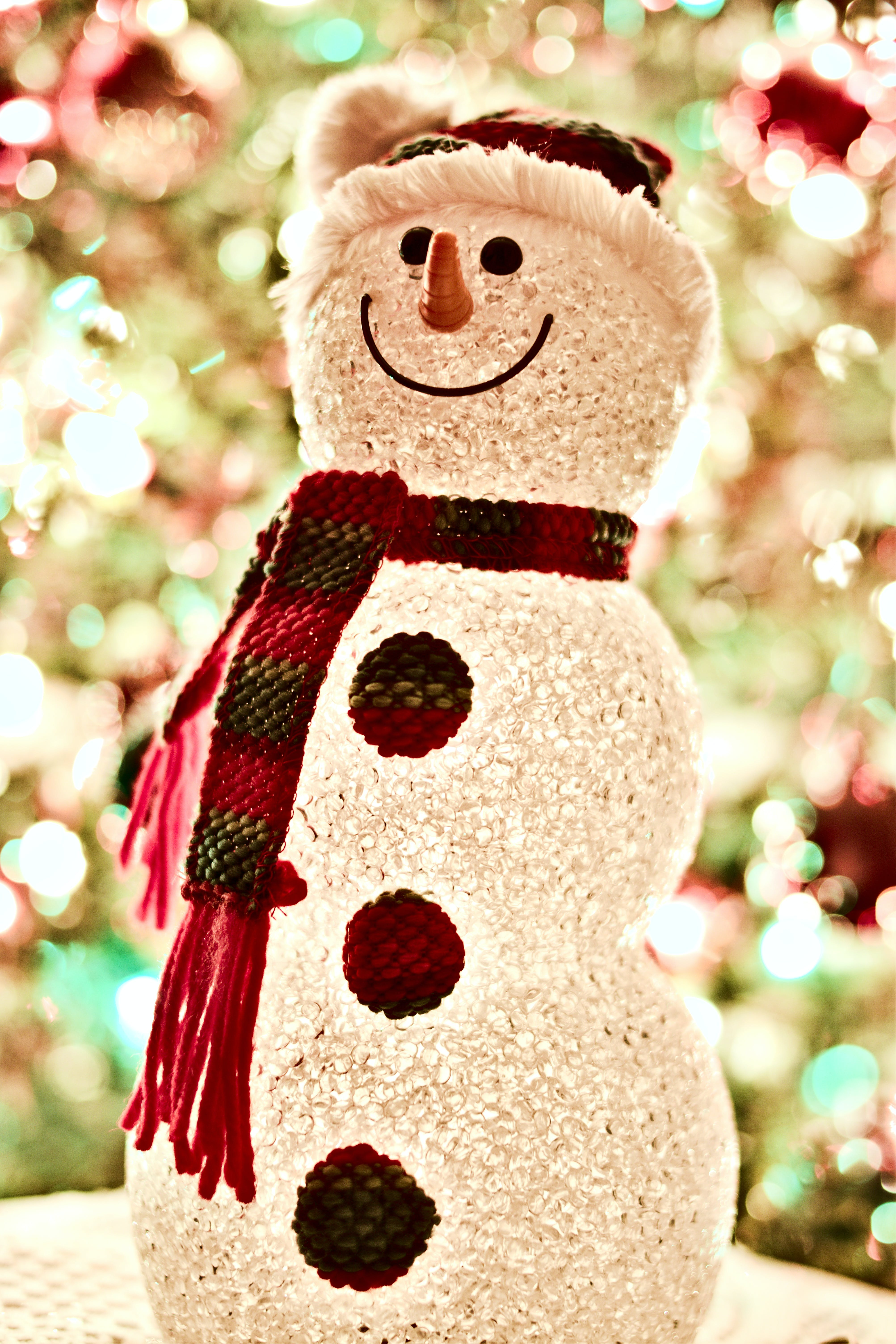 Snowman Wearing Scarf Led Lamp