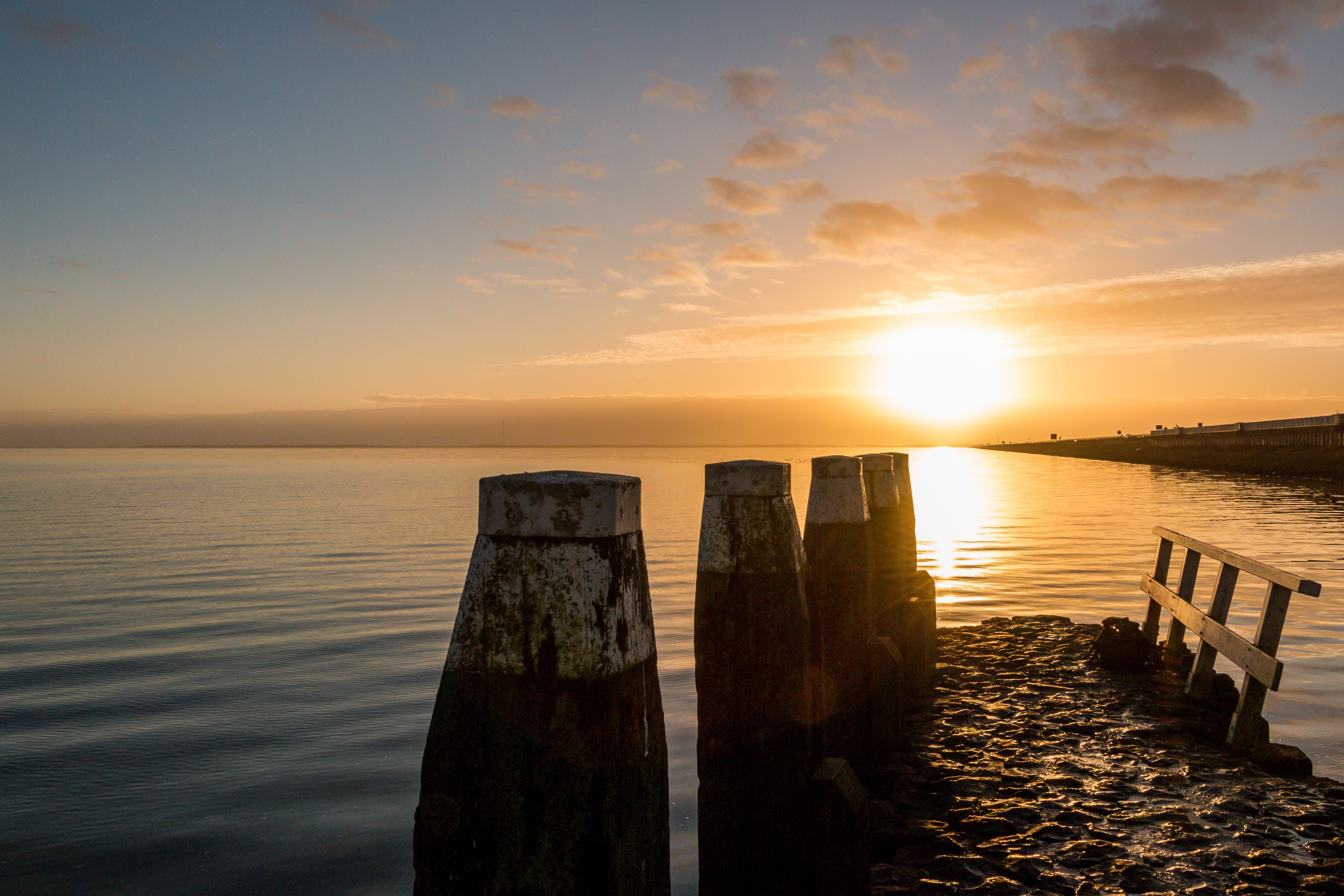 Kostenloses Stock Foto zu abendsonne, afsluitdijk, blau, blauer himmel