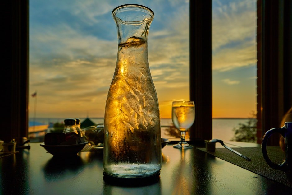 Clear Wine Glass and Clear Glass Pitcher