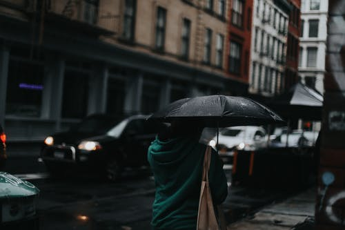 Person in Green Jacket Holding Umbrella
