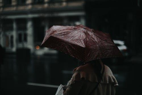 Person in Black Coat Holding Red Umbrella