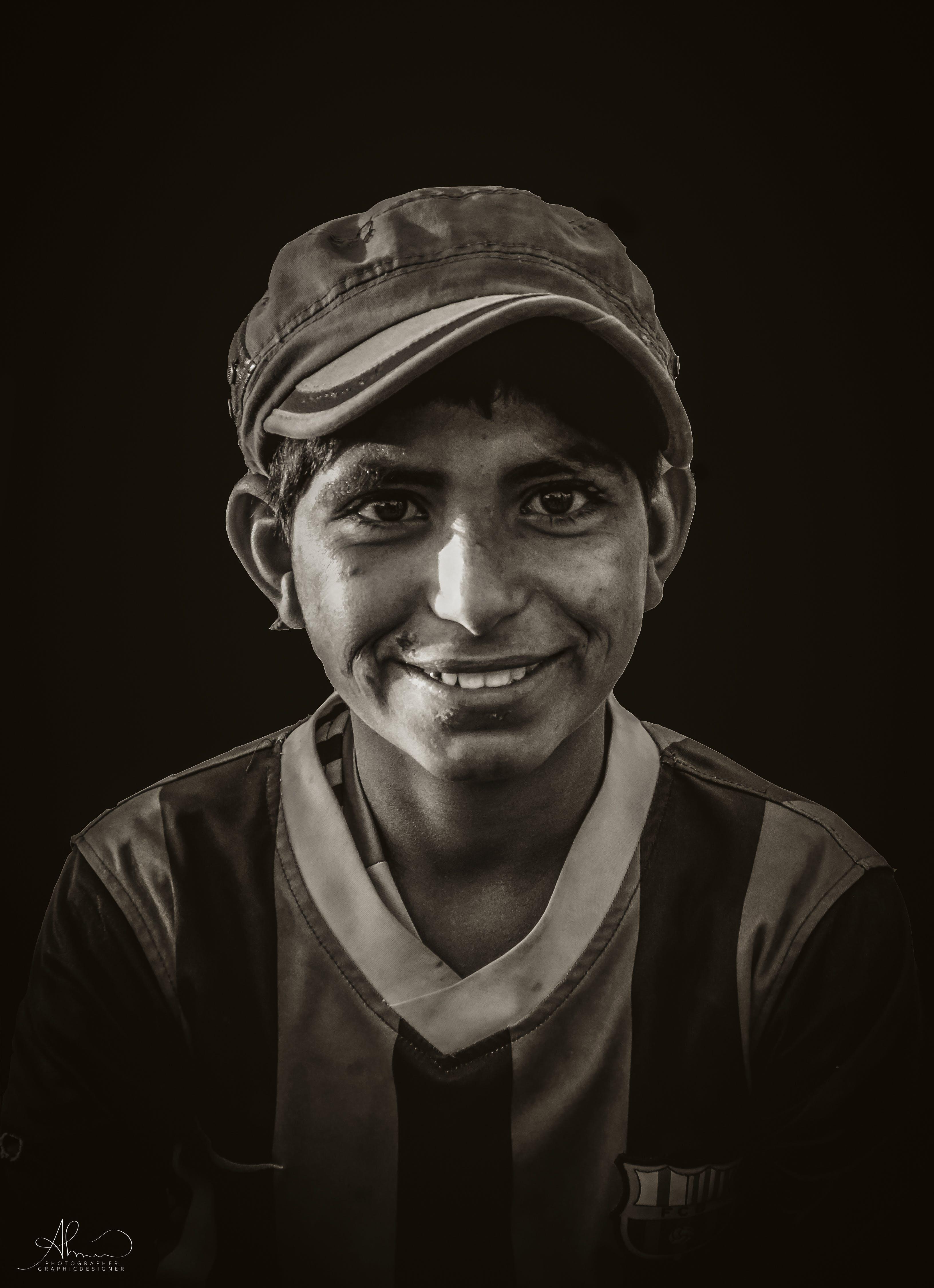 Free stock photo of arabic, black and white, black background, boy