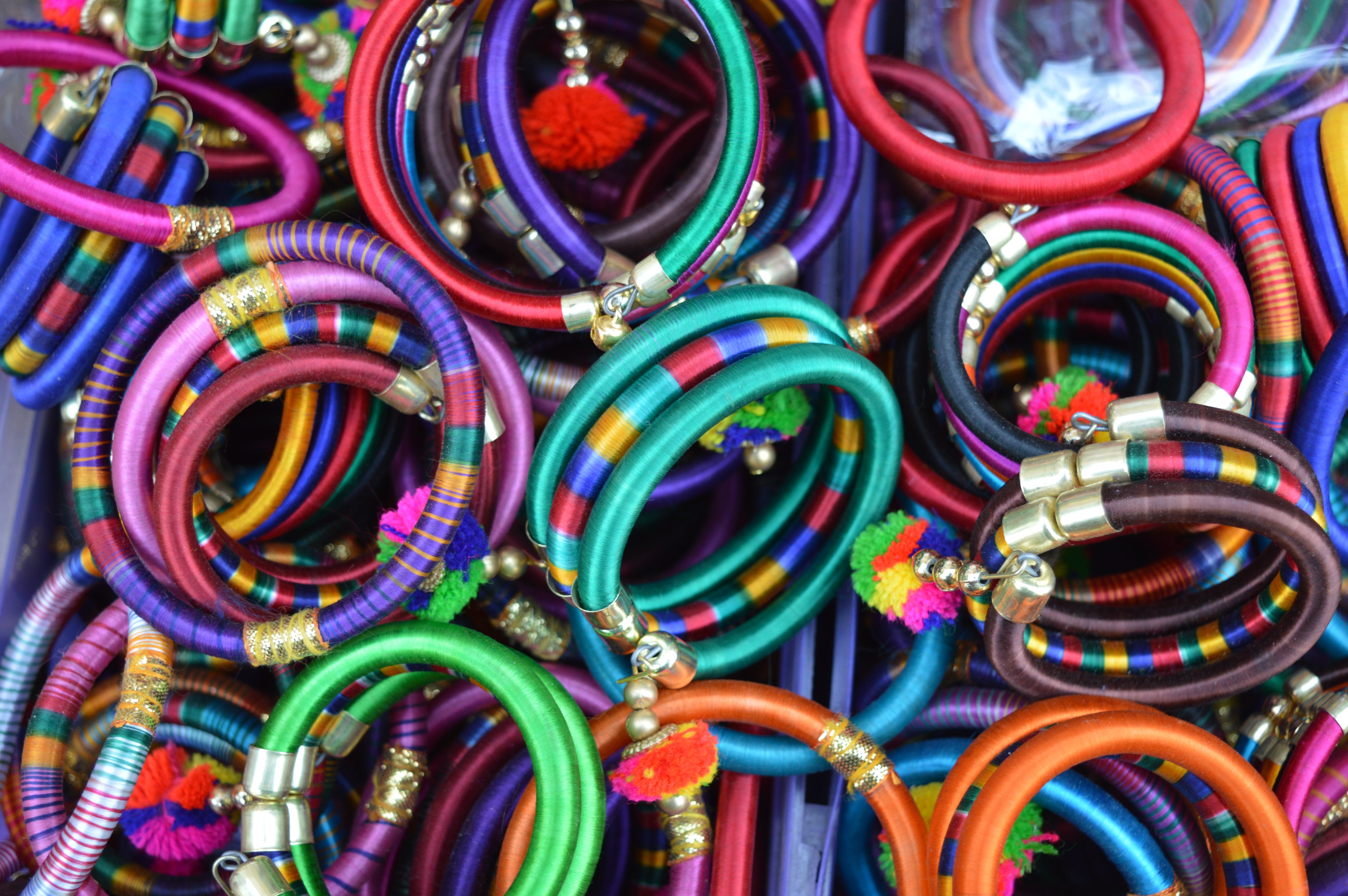Pile Of Women's Assorted Colored Bangles
