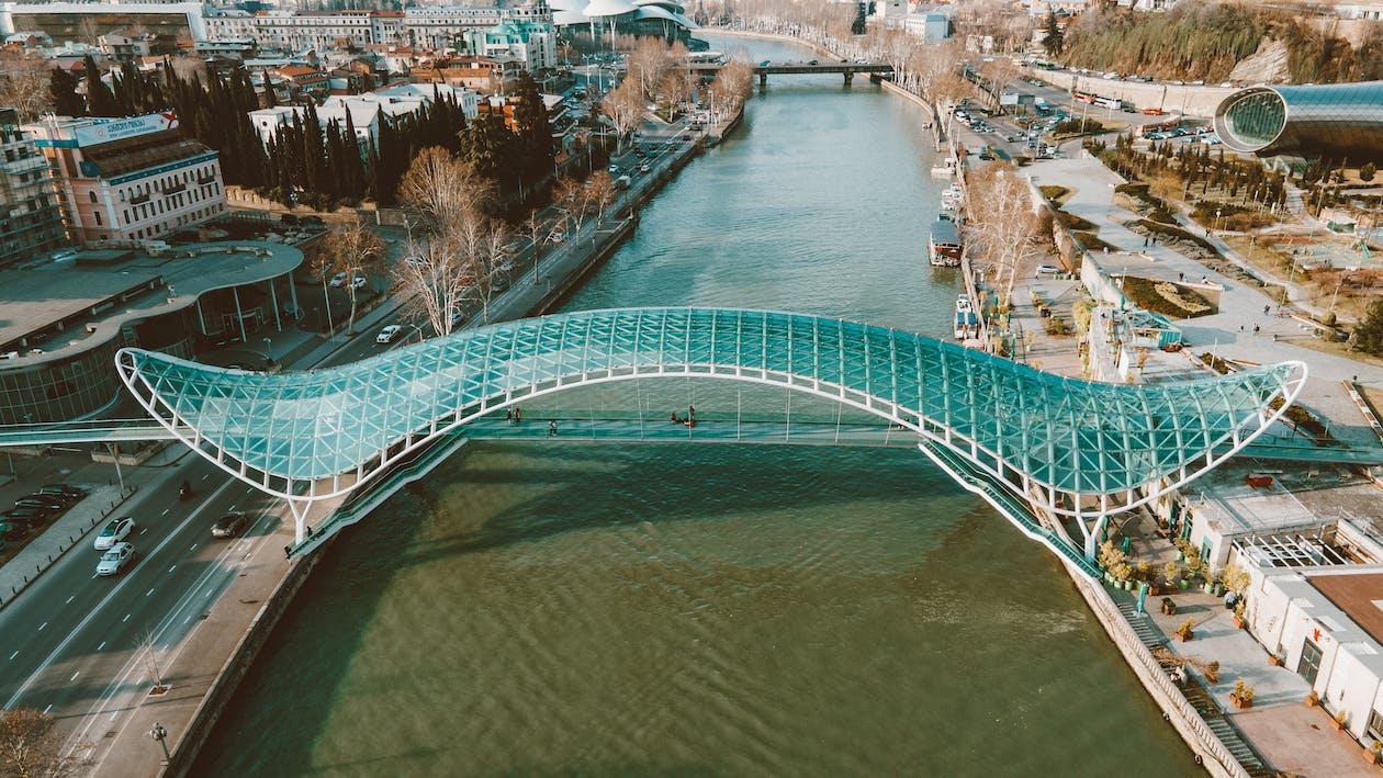 Aeriel Shot of a Bridge in a City