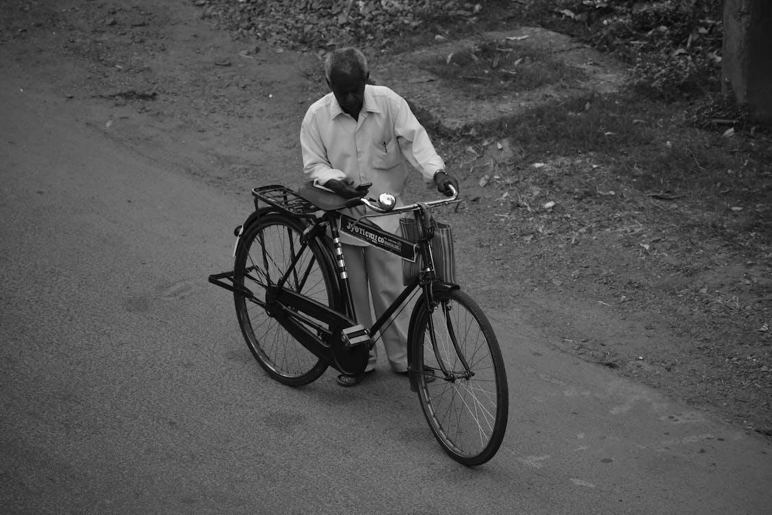 adulto, andar de bicicleta, bicicleta